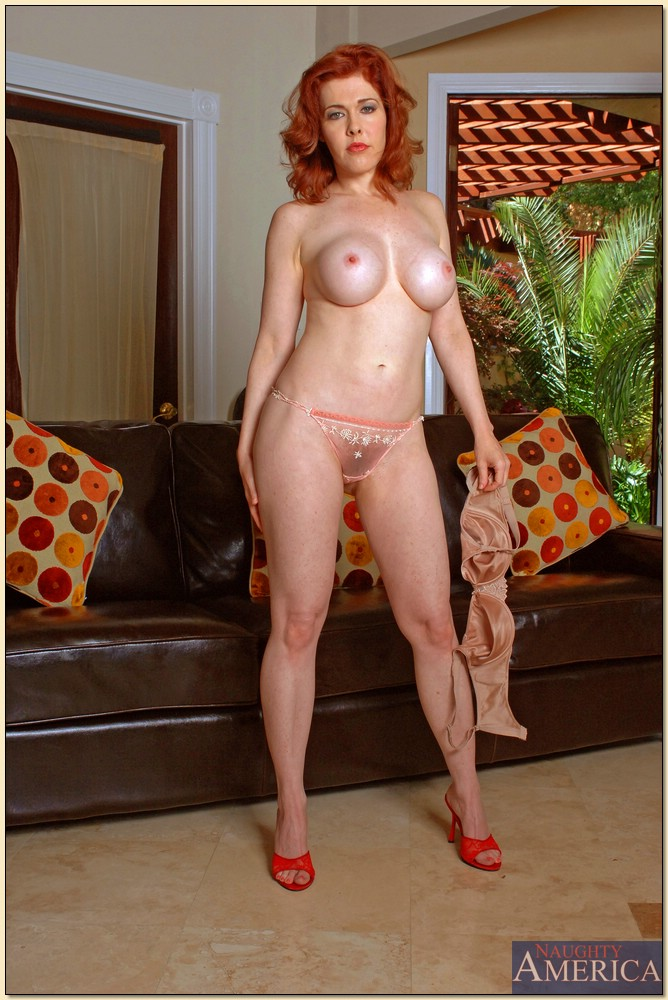 Redhead MILF Mae Victoria rides dick with her hairy muff and enjoys a cumshot
