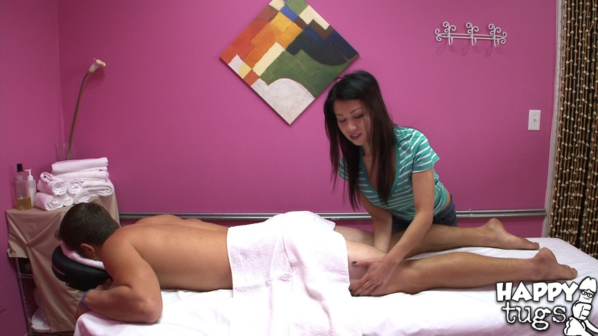 Slim asian masseuse with big tits Ka Lee gets fucked by her studly client