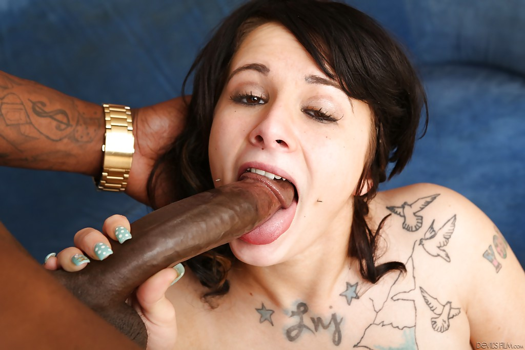 Interracial sex features brunette pornstar with tattoos Allison Anne