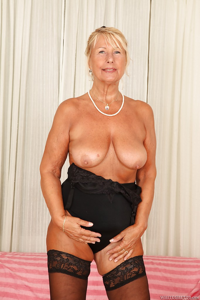 all natural tits short hair - ... Short-haired blonde granny Regi is demonstrating her gorgeous boobs ...