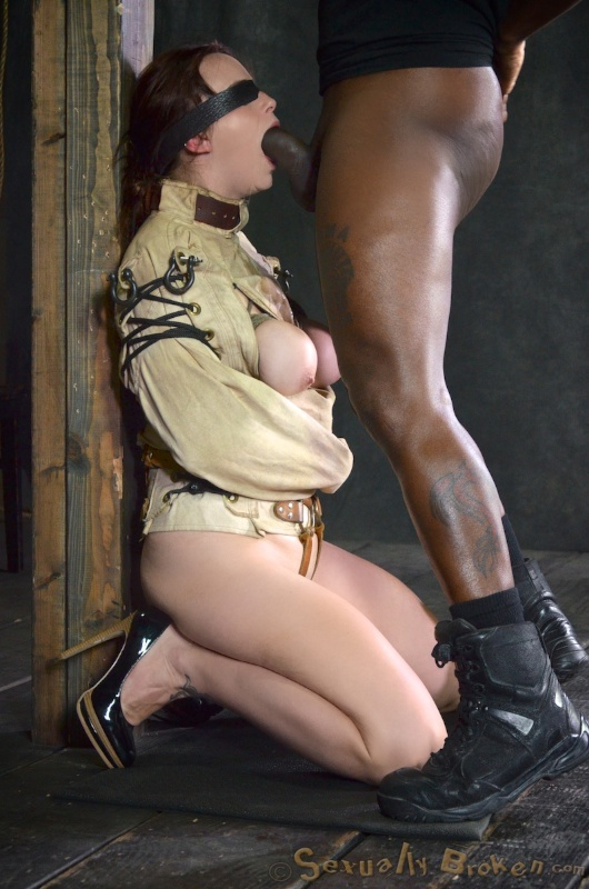 ... BDSM slave Bella Rossi bound in straight jacket and gagged with black  cock ...