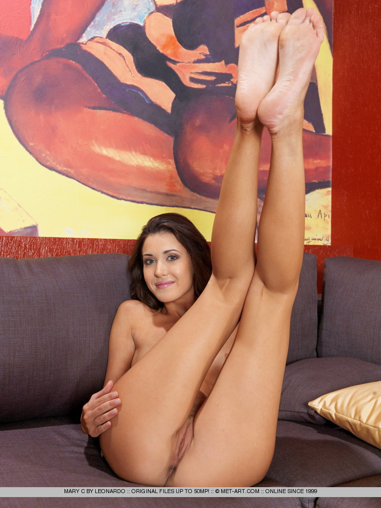 Bare foot Mary C flashes shaved pussy in sexy upskirt  spreads wide open
