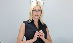 Dazzling MILF teacher in glasses Lauren Kain strips her stunning assets