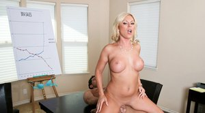 Big titted babe Ahryan Astyn gets fucked in her shaved cunt in office