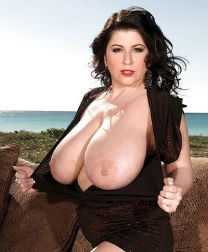 Big titted fatty Natalie Fiore strips to panties and poses outdoor