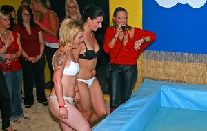 Filthy amateur chicks having fun at the pool erotic party