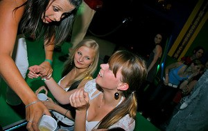 Drunk chicks have some stripping fun at the crazy night club party