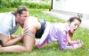 European vixen Cindy Dollar has a passionate fully clothed sex outdoor