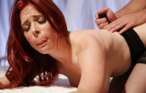 Redhead pornstar Penny Pax conquers big dick with her lovely mouth