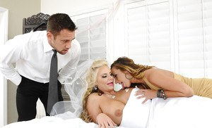 Stunning Jada and Phoenix getting fucked deep on a wedding day