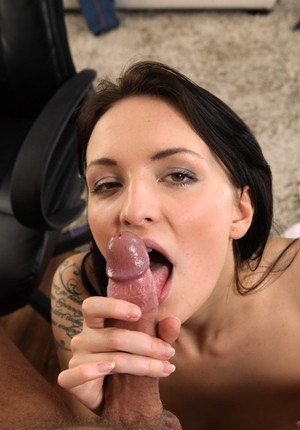Cumshot action with an European brunette Belle Claire sucking cock
