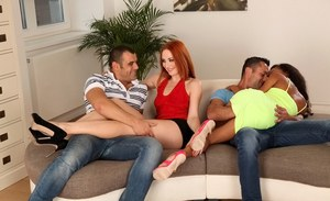Ebony cutie Alyssa Divine enjoys groupsex with hot Eva Berger