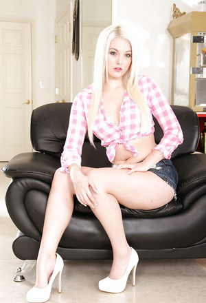 Undressing session from a teen babe Jenna Ivory in her jeans shorts