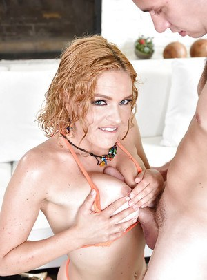 Horny mom Krissy Lynn gives big penis titjob and ball licking experience