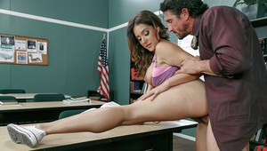 Blonde chick Jean Michaels is fucked in front of class by teacher