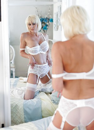 Beautiful over 50 MILF Jan Burton masturbating in sexy white underthings