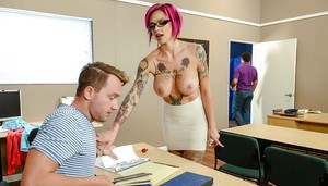 Tattooed teacher Anna Bell Peaks seducing male student for sex in classroom