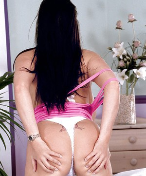Euro solo model Linsey Dawn McKenzie showing off massive hangers