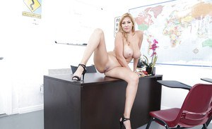 Bare legged Latina teacher Jazmyn revealing hooters on way to posing nude
