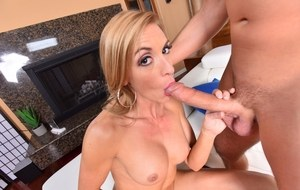 Older blonde mom Kate Linn seduces her daughters boyfriend whens shes out
