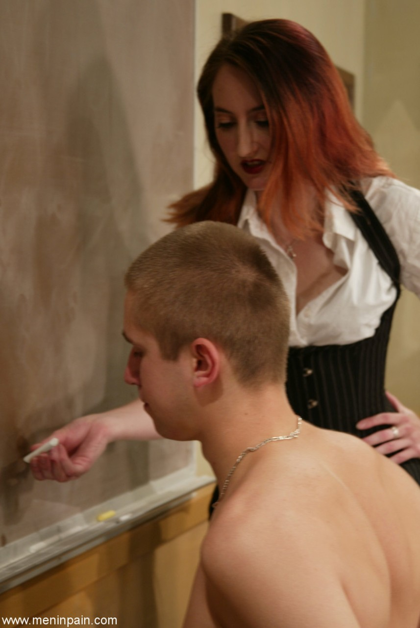 ... Redhead teacher makes a student write on board in the nude while  flogging him ...