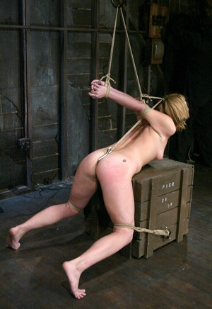 Submissive blonde bitch Jolene bound and fucked hard in the dungeon