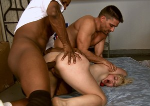 Female sex slaves endure double anal penetrations during a gangbang