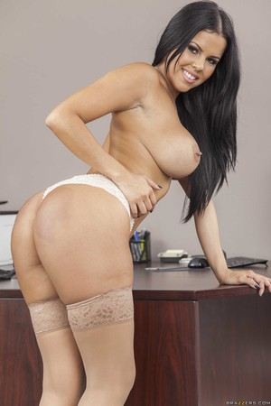 Latina business woman Diamond Kitty shows off her big tits in lingerie