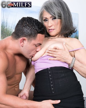 Asian granny Kokie Del Coco gets her hairy muff stuffed with a stud