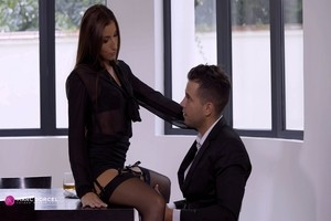 Hot Clea Gaultier got her trimmed pussy eaten out at the dinning table