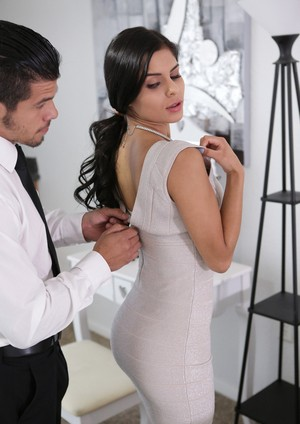Dark haired beauty Katya Rodriguez is stripped by her man before fucking