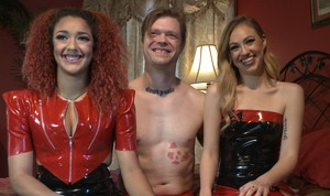 Man owned from both sides by bitches with strapons Daisy Ducati and Lyra Law