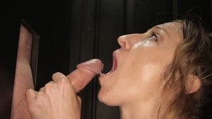 Savanna opens her big mouth and swallows strong cocks & jizz at gloryhole