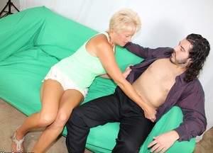 Hot blonde mature mom seduces virile young man  sucks his willing cock dry