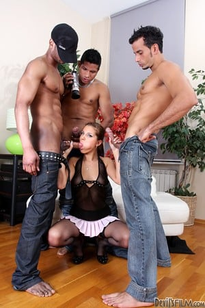 Skinny hottie Angel Rivas copes with three huge cocks being double penetrated