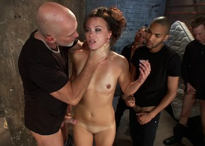 Raunchy guys steal a delightful young chick for interracial gangbang
