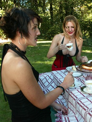 Kinky housewives line up for machine sex at a picnic table after tea and cakes