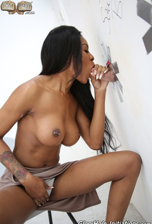 Super beautiful ebony Nadia Jay shows perfect round tits in gloryhole session
