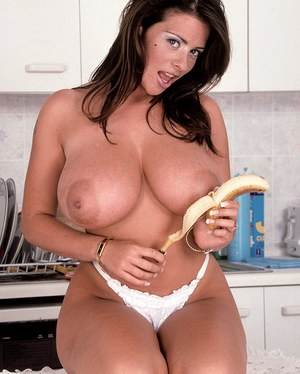 BBW solo model eats a banana prior to flaunting her huge boobs