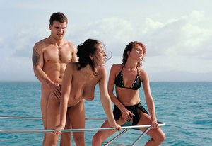 All natural girls enjoy baring their hairy twats on the yacht for hot jism
