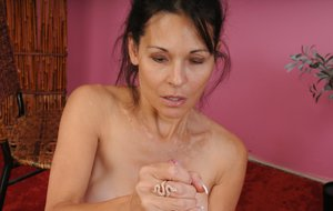 Over 40 lady Trudy Lewis sucks and jerks a dick from a POV perspective