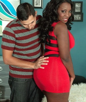 Hot ebony Mia Milan bends over in short dress for ass spreading & booty biting