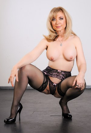Mature mom Nina Hartley  sexy young Britney Young posing in hot lingerie