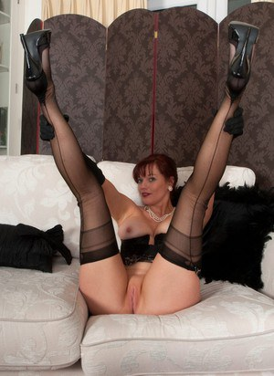 Classy MILF in vintage panties  FF stockings spreading pussy in satin gloves