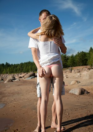 Young blonde Mariana fulfill sexual fantasy by fucking on the beach