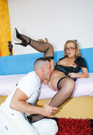 MILF Colette in fishnet stockings  glasses sucking cock  fucking in heels
