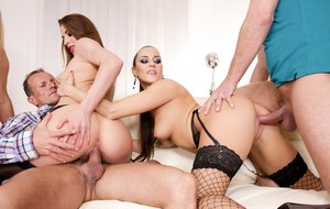 3 sexy females banged by 3 guys during wicked group sex