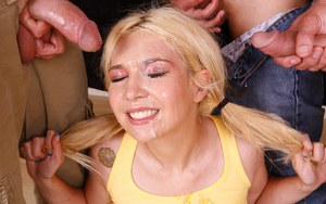 Cute teen Parker Page in pigtails & socks gets face covered in cum in 3some