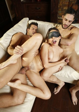 Blindfolded brunette gets fucked and gagged by cock in hot MMF threesome