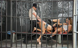Latina Gabby Quinteros and her cellmate turn lesbians and blow prison guard